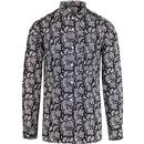 lambrertta 2 ton all over paisley print shirt black/white