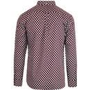 LAMBRETTA Retro 60s Mod Polka Dot Shirt (Burgundy)
