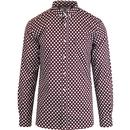 lambretta mens retro mod polka dot long sleeve shirt burgundy white