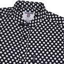 LAMBRETTA Retro 1960s Mod Polka Dot Shirt (Navy)