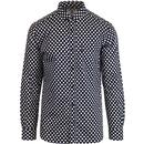 lambretta mens retro mod polka dot long sleeve shirt navy white