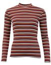 LEE Retro 60s Mod Ribbed Stripe High Neck Top (T)