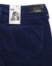Scarlett LEE Retro Womens Cord Skinny Jeans Blue