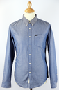 LEE JEANS MENS TWO TONE CHAMBRAY DENIM SHIRT BLUE