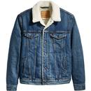 Levi's Men's Retro 1970s Mod Sherpa Denim Jacket in Mayze Blue