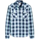 Levi's Barstow Men's Retro 1970s Check Western Shirt in Dress Blues