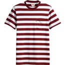 Levi's Men's Retro Mod Sunset Pocket Planter Stripe T-shirt in Cabernet