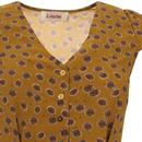 Cathy LOUCHE Dandelion Print Tea Dress In Mustard