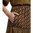 Toni LOUCHE Mix Floral Print Midi-Skirt Wine