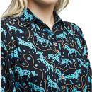 Lilwenn LOUCHE Horses Print Midaxi Dress In Navy