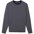 Lyle & Scott Men's Retro 60s Mod Long Sleeve Breton Stripe T-shirt in Navy