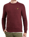 lyle and scott retro cable knit jumper claret marl