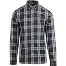 lyle and scott poplin fine check button down mod shirt black