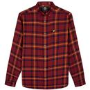 lyle and scott retro flannel check shirt claret