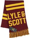 lyle and scott 60s text knit logo scarf claret jug