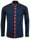 madcap england avory mandarin collar shirt navy