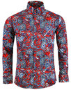 Sunset Paisley MADCAP ENGLAND 1960s Mod Shirt RED