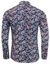 Tabla Paisley MADCAP ENGLAND 1960s Mod Shirt NAVY