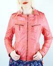 MADCAP ENGLAND RETRO WOMENS LEATHER JACKET PINK