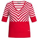 Mademoiselle Yeye Retro 60s Knitted Stripes Lover Top Red