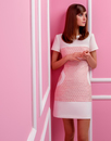 MARMALADE Retro Mod Sixties Fitted Dress in White