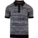 merc london action space dye knitted polo black/grey