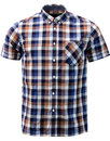 merc ashford retro mod block check shirt brown