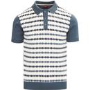 merc london mens farley diamond knitted mod polo tshirt vintage blue