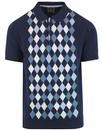 merc echo 1960s mod argyle knitted polo shirt navy