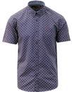 merc london retro garrison geo print shirt navy