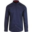 MERC RETRO MOD 60S SEIGEL POLKA DOT SHIRT NAVY