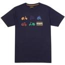 merc halford mod scooter print tee navy