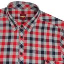 Hamlet MERC Retro Mod Flannel Check Shirt NAVY/RED