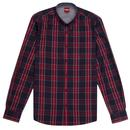 merc london harcoart tartan check button down shirt navy