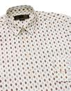 Lloyd MERC Men's 1960s Mod Leaf Print Shirt WHITE