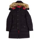 merc raleigh padded parka jacket in dark navy