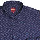 Sotheby MERC Button Down 60s Geo Print Shirt Navy