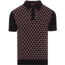 merc london mens spitfire geometric pattern jacquard front panel knitted polo tshirt black