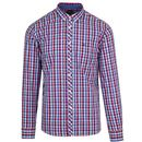 Merc Sunbury Retro Mod Tri Colour Gingham Check Shirt