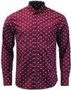merc upland retro 60s mod scooter print shirt wine