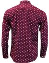 Upland MERC Men's 60s Mod Scooter Print Shirt WINE