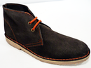 WOMENS RETRO MOD DESERT BOOTS DARK BROWN SUEDE
