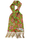 Piccadilly Lime Paisley PECKHAM RYE Mod Silk Scarf