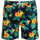 original penguin mens hawaiian flower print drawstring swimming shorts dark saphire