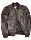 Dover PRETTY GREEN Retro Leather Bomber Jacket