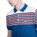 PRETTY GREEN Mod Striped Colour Block Knitted Polo