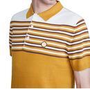 PRETTY GREEN Mod Striped Colour Block Knit Polo Br