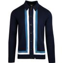 pretty green contrast panel knitted polo cardigan navy