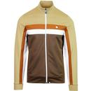 pretty green contrast panel track top jacket brown