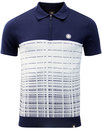 pretty green croston retro jacquard knit polo navy